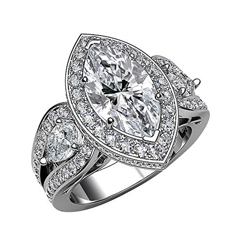 3.00 Ct Marquise & Round Cut Simulated Diamond Halo Split Shank Engagement Ring In Solid 10k White Real Gold 5