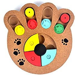 Stock Show 1Pc Pet Intelligence Toy, Creative Wooden Paw Shape Pet IQ Training Eudcational Games Plate Toys, Puzzle Dish Slow Feed Bowl for Dog/Doggie/Puppy/Pup/Cat