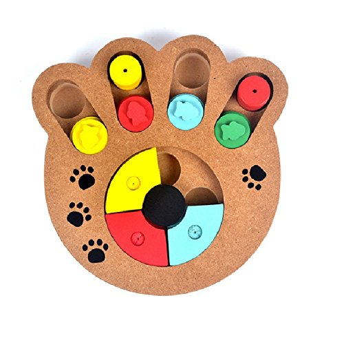 Doggie Dish (Stock Show 1Pc Pet Intelligence Toy, Creative Wooden Paw Shape Pet IQ Training Eudcational Games Plate Toys, Puzzle Dish Slow Feed Bowl for Dog/Doggie/Puppy/Pup/Cat)
