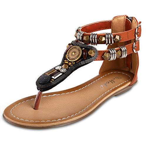 - labato Women' s Summer T-Trap Flat Sandals Boho Beaded Back Zip Flip Flops Dressy Sandals Brown