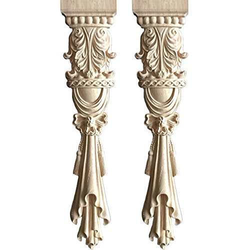 WINGOFFLY Wooden Carved Onlay Unpainted Applique Frame for Decoration Furniture Doors Rome Column 2 Pics(15.2