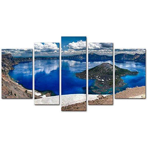 r Painting On Canvas Print Pictures 5 Pieces Gorgeous Crater Lake On A Summer Day Oregon Panorama Landscape Mountain&Lake Framed Picture for Home Decoration Living Room Artwork ()