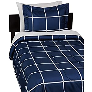 Amazon Basics 5-Piece Light-Weight Microfiber Bed-In-A-Bag Comforter Bedding Set – Twin, Navy Simple Plaid