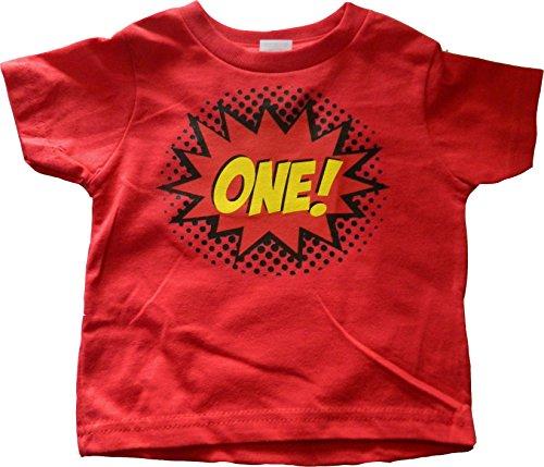 Custom Kingdom Baby Boys' One Superhero Colorful First Birthday T-Shirt (12 Months, Red)