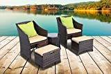 5 Piece Wicker Patio Chat Set Outdoor Furniture Rattan Dining Set Home Garden with Cushion