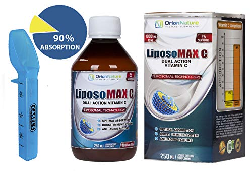 Liposomal Vitamin C 1000 mg Liquid | Natural Immune System Booster| Antioxidants Support |Faster Absorption | Great Taste |No GMO,Soy,Gluten | Double Quantity 250 ml | Include Measure Spoon