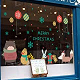 Merry Christmas Shop Window Decals Removable Room Decor Window Sticker Wall Art Mural Festival Decor Decals for Kids Girls Boys 20 x 30.4 Inch