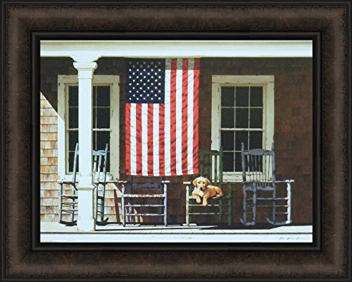 Home Cabin Décor American Flag by Zhen-Huan Lu 16x20 Porch Rocking Chairs Puppy Dog Americana USA Framed Art Print Picture