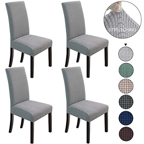 NORTHERN BROTHERS Dining Chair Covers Stretch Chair Covers Parsons Chair Slipcover Chair Covers for Dining Room (Light Grey, 4) (Slipcovers For Chairs Dining)