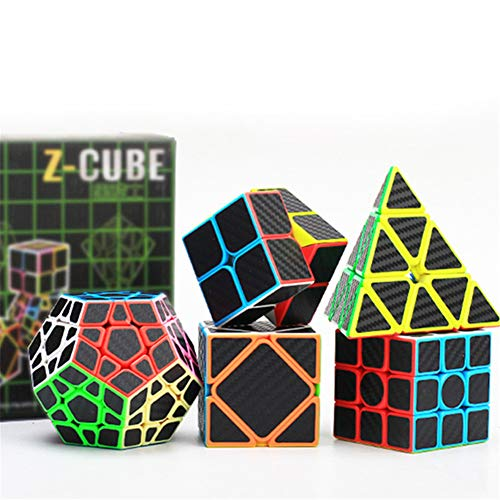 TTXST Speed   Cube Set 2X2x2 3X3x3 2Nd-Order 3Rd-Order Pyramid Cube Five-Piece Black Knight Gift Box Black Carbon Fiber Series Magic Cube