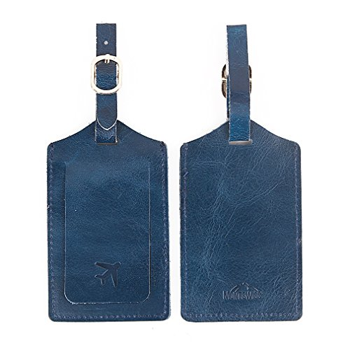Mont Swiss Genuine Leather Luggage Bag Tags 2 Pieces Set in 2 Colors (Blue)