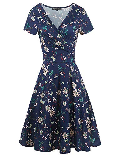oxiuly Women's Casual Criss-Cross Necklines Short Sleeve Work Business Swing Summer Tea Dress OX288 (Blue Floral, L)