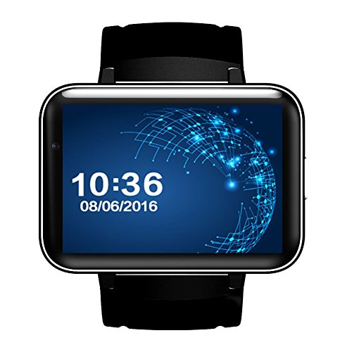 DM98 Smart Watch Card-inserted GPS 2.2'' Display Smart Phone with LED Dual Core 1.2G 900Mah Camera WIFI 3G GPS Android4.4 App For Smartphone (Black) by Shun