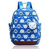 WOERKAZLD Kids Cartoon School Bags Child Anti Lost backpack bear rabbit pendant Suitable for 1-5 year olds children (Blue) Review
