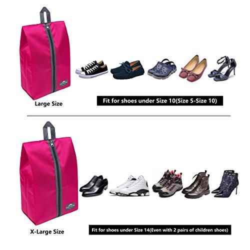 DOKEHOM DKA3030DPG1 Portable Nylon Travel Shoe Storage Organizer Bag (8 Colors) with Zipper Closure (Pack 4, Dark Pink) by DOKEHOM (Image #4)