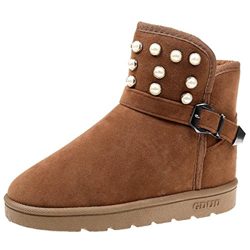 Mashiaoyi Women's Round-Toe Thick-Heel Buckle Beaded Snow Boots Brown e8o0L