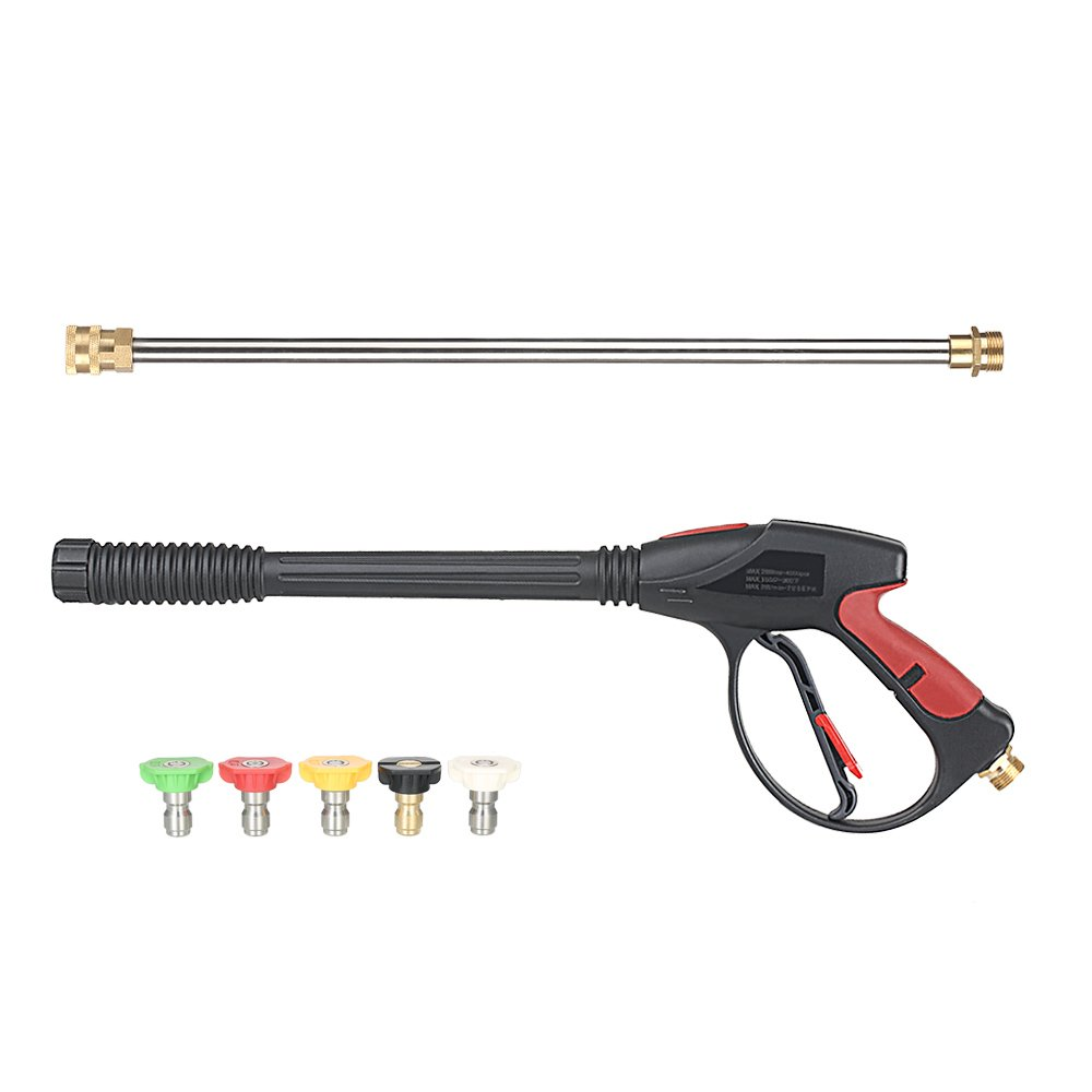 KKmoon Pressure Washer Gun 4000 PSI Spray Gun with 18'' Extension Wand + 4 Quick Connect Nozzles and 1 Soap Nozzle for Car Pressure Power Washers