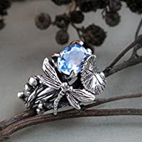 Phetmanee Shop Fashion Women 925 Silver Blue Topaz Dragonfly Rings Wedding Party Jewelry Gifts (9)