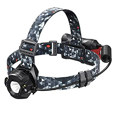 TaoTronics LED Headlamp, Smartest Headlight with Auto Distance Sensor, Battery Powered and IPX 5 Head Lamp for Camping, Running, Hiking and Reading