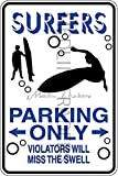 Novelty Parking Sign, Surfer Parking Only Aluminum Sign S8272
