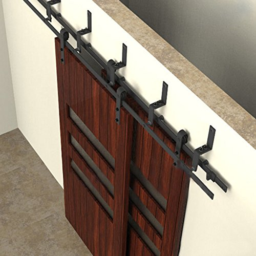 UPGRADED 6.6ft Bypass Sliding Barn Wood Closet Door Rustic Black Hardware Track Set - Wood Closet Doors