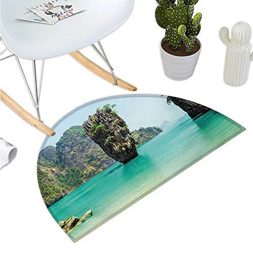 Island Semicircular Cushion James Bond Stone Island Landscape in Tropical Beach Cruising Journey of Life Photo Halfmoon doormats H 39.3