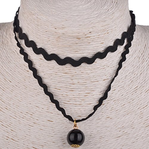 Simple Weave Black Lace Choker Necklace Gothic Two Layers Ball Pendant Black X86K05