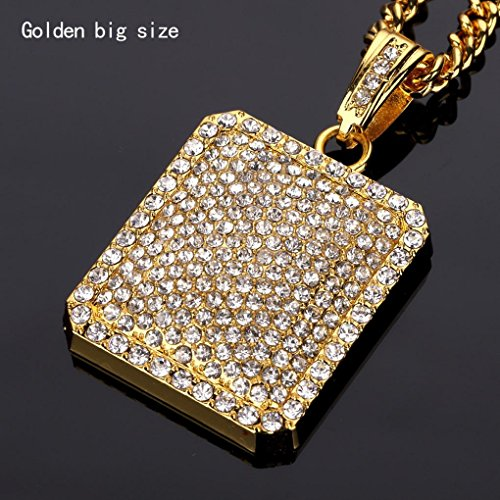 (Mens Full Iced Out Rhinestone Square Tag Pendant Cuban Chain Hip Hop Necklace (A))