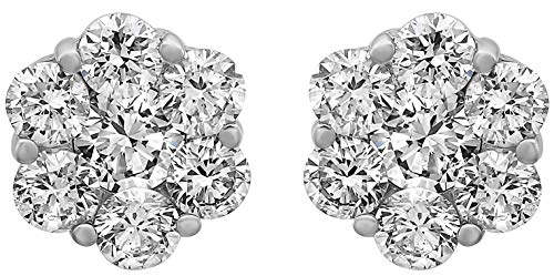 Olivia Paris 14k White Gold Certified 1 Carat ctw Diamond Flower Cluster Stud Earrings GH, SI1-SI2