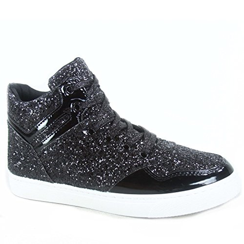 Forever Link Sparkle-26 Moda Mujer Glitter High Top Lace Up Sneaker Zapatos Black