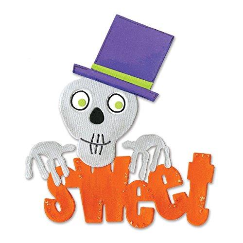 Sizzix 655568 Bigz Die Sweet Phrase with Skull & Top Hat by Brenda Pinnick, Multicolor