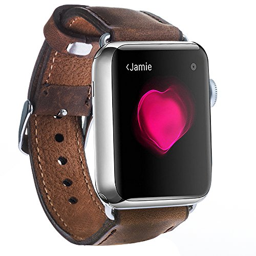 BURKLEY CASE Padded Band Compatible with Apple Watch Band 38mm 40mm, Full Grain Leather Replacement Band Compatible with Apple Watch Series 4 (40mm) Series 3-2 - 1 (38mm)(Distressed Antique Coffee)
