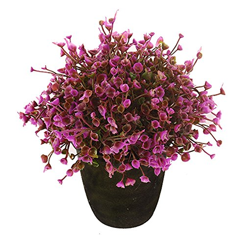 VGIA home decor Purple artificial retro potted plant,plastic flower,mini tree.