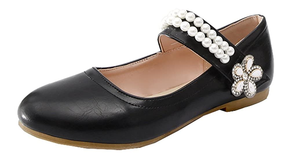 SHOWHOW Womens Comfort Pearls Rhinestones Pump Flats Shoes Round Toe Hook-and-Loop