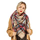 Flowomen Oversized Blanket Scarf Plaid Shawl Fashion Wrap Chunky Lightweight Warm Soft Tassel