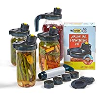 My Mason Makes.Fermentation Kit - A Mold Free Fermenter For Easy Pickling, Storing, Pouring - Includes 4 Multi Purpose Lids, Fermenting Caps, Recipe Book, Extractor Pump + Bonus Accessories