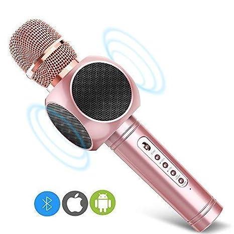 Micrófono Inalámbrico Karaoke Bluetooth 3.0 2 Portátil Altavoces Incorporados para Karaoke Batería de 2600mAh 3.5mm AUX Compatible con ...