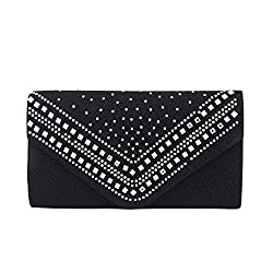 Premium Crystal Metallic Glitter Flap Clutch Evening Bag Handbag, Black