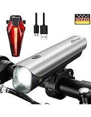 Toptrek Fahrradlicht StVZO Zugelassen akku Fahrradlichter USB Wiederaufladbare LED Fahrradbeleuchtung Set Samsung Li-ion Batterie/CREE LED Wasserdicht IPX4 Fahrradlampe (LF04 Silber)