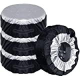 Comily Plus+ 4pcs/set 210D Polyester Spare Tire Covers Storage Tote Bags with Handle Fit for 13'-15'Tyres in Diameter…