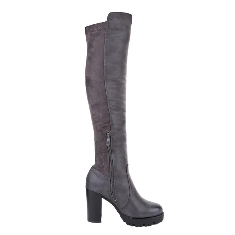 Cingant Woman Damen Overknee Stiefel/Plateausohle/Blockabsatz/Stiefel/Damenschuhe/Grau  2018 Letztes Modell  Mode Schuhe Billig Online-Verkauf