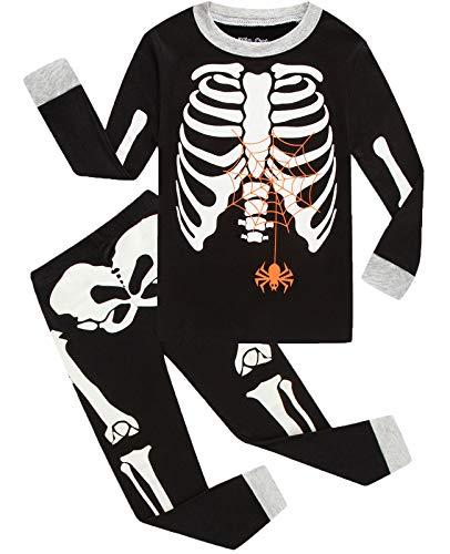 Boys Skeleton Pyjamas (Little Pajamas Boys Skeleton Halloween Pjs 100% Cotton Toddler Clothes Kids Sleepwear)