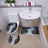 Bath mat Set Round-Shaped Toilet Mat Area Rug Toilet Lid Covers 3PCS,Waterfall,Waterfall and Grand Cliffs in Northern America Force of Nature Art Print Decorative,Green Blue White,Elongated Toilet Li