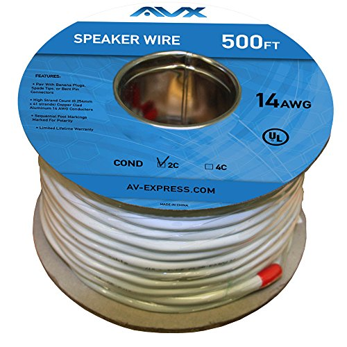 AVX Audio - 500 Feet 12 AWG CL2 Rated (For In-Wall Usage) 2-Conductor. Oxygen Free Copper Speaker Wire - 110-1200 by AVX AUDIO