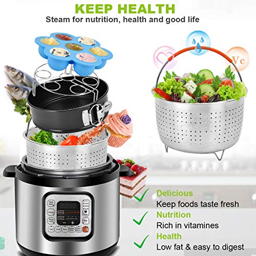 Accessories Set for Instant Pot-Fits 6,8Qt Pressure Cooker,12-Pcs with Steamer Basket/Egg Steamer Rack/Egg Bites Molds/Non-stick Springform Pan/Magnetic Cheat Sheets/Oven Mitts/Silicone Sponge by Will Well (Image #1)