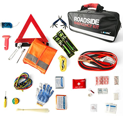 Equipx 65-Piece Roadside Assistance Auto Emergency Kit with Jumper Cables