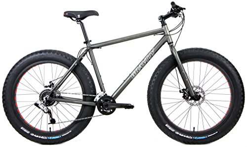 Aluminum Fat Bikes with Powerful Disc Brakes Gravity Monster Mens Fat Tire Bicycle 26' x 4' (Stealth Super Dark, 18in)