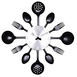 ZHPUAT 14 Inch Stainless Steel Housewares Cutlery Indoor/Outdoor Wall Clock Black