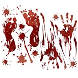 QYUKUYU Halloween Decorations, 10 Pieces (100 Pcs Stickers) Halloween Bloody Handprints Footprints Window Clings Horror Bloodstains Stickers Decorative Decals Vampire Zombie Party
