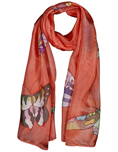 Invisible World Women's 100% Mulberry Silk Scarf Painted Butterfly Salmon Pink